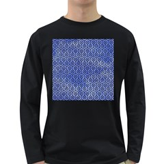 Hexagon1 Black Marble & Blue Watercolor (r) Long Sleeve Dark T Shirt by trendistuff