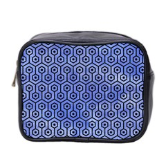 Hexagon1 Black Marble & Blue Watercolor (r) Mini Toiletries Bag (two Sides) by trendistuff