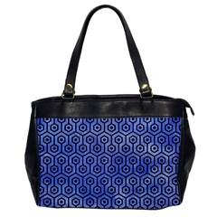 Hexagon1 Black Marble & Blue Watercolor (r) Oversize Office Handbag by trendistuff