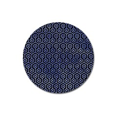 Hexagon1 Black Marble & Blue Watercolor Magnet 3  (round) by trendistuff