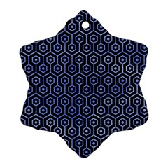 Hexagon1 Black Marble & Blue Watercolor Snowflake Ornament (two Sides) by trendistuff