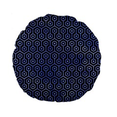Hexagon1 Black Marble & Blue Watercolor Standard 15  Premium Flano Round Cushion  by trendistuff