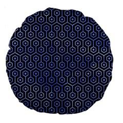 Hexagon1 Black Marble & Blue Watercolor Large 18  Premium Flano Round Cushion  by trendistuff