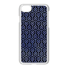 Hexagon1 Black Marble & Blue Watercolor Apple Iphone 7 Seamless Case (white) by trendistuff