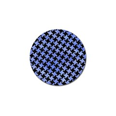 Houndstooth2 Black Marble & Blue Watercolor Golf Ball Marker by trendistuff