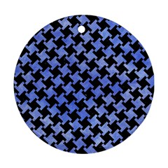 Houndstooth2 Black Marble & Blue Watercolor Round Ornament (two Sides) by trendistuff