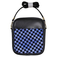 Houndstooth2 Black Marble & Blue Watercolor Girls Sling Bag by trendistuff