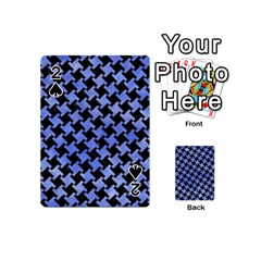Houndstooth2 Black Marble & Blue Watercolor Playing Cards 54 (mini) by trendistuff