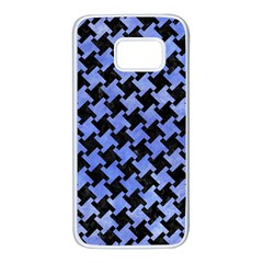Houndstooth2 Black Marble & Blue Watercolor Samsung Galaxy S7 White Seamless Case by trendistuff