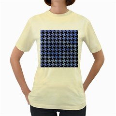 Houndstooth1 Black Marble & Blue Watercolor Women s Yellow T Shirt by trendistuff
