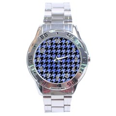 Houndstooth1 Black Marble & Blue Watercolor Stainless Steel Analogue Watch by trendistuff