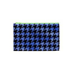 Houndstooth1 Black Marble & Blue Watercolor Cosmetic Bag (xs) by trendistuff