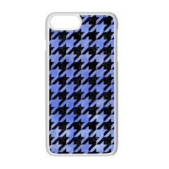 Houndstooth1 Black Marble & Blue Watercolor Apple Iphone 7 Plus White Seamless Case by trendistuff