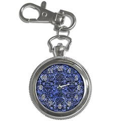 Damask2 Black Marble & Blue Watercolor (r) Key Chain Watch by trendistuff