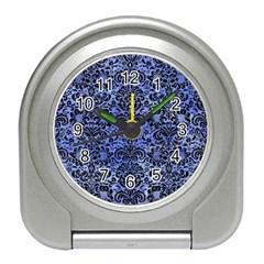 Damask2 Black Marble & Blue Watercolor (r) Travel Alarm Clock by trendistuff