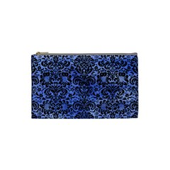 Damask2 Black Marble & Blue Watercolor (r) Cosmetic Bag (small) by trendistuff