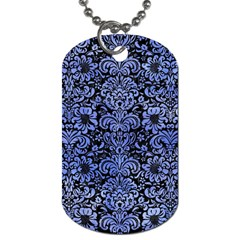 Damask2 Black Marble & Blue Watercolor Dog Tag (two Sides) by trendistuff
