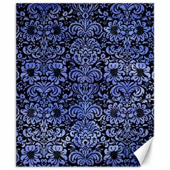 Damask2 Black Marble & Blue Watercolor Canvas 8  X 10  by trendistuff