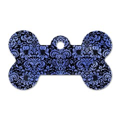 Damask2 Black Marble & Blue Watercolor Dog Tag Bone (one Side) by trendistuff