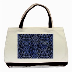 Damask2 Black Marble & Blue Watercolor Basic Tote Bag (two Sides) by trendistuff