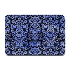 Damask2 Black Marble & Blue Watercolor Plate Mat by trendistuff