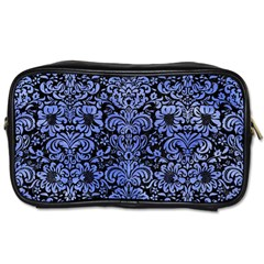 Damask2 Black Marble & Blue Watercolor Toiletries Bag (two Sides) by trendistuff