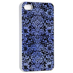 Damask2 Black Marble & Blue Watercolor Apple Iphone 4/4s Seamless Case (white) by trendistuff