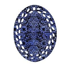 Damask2 Black Marble & Blue Watercolor Oval Filigree Ornament (two Sides) by trendistuff