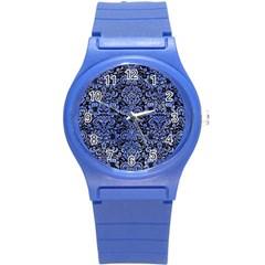 Damask2 Black Marble & Blue Watercolor Round Plastic Sport Watch (s) by trendistuff