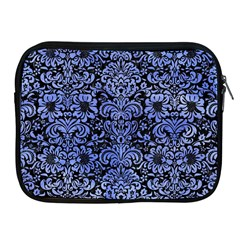 Damask2 Black Marble & Blue Watercolor Apple Ipad Zipper Case by trendistuff