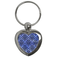 Damask1 Black Marble & Blue Watercolor (r) Key Chain (heart) by trendistuff
