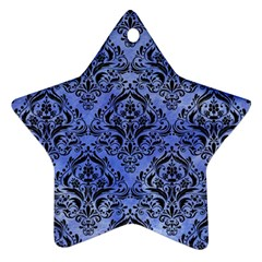 Damask1 Black Marble & Blue Watercolor (r) Star Ornament (two Sides) by trendistuff
