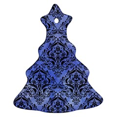 Damask1 Black Marble & Blue Watercolor (r) Christmas Tree Ornament (two Sides) by trendistuff