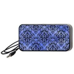 Damask1 Black Marble & Blue Watercolor (r) Portable Speaker (black) by trendistuff