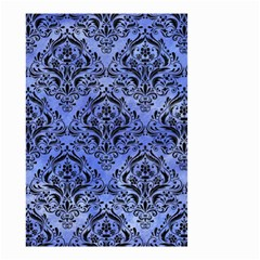 Damask1 Black Marble & Blue Watercolor (r) Small Garden Flag (two Sides) by trendistuff