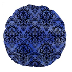 Damask1 Black Marble & Blue Watercolor (r) Large 18  Premium Round Cushion  by trendistuff