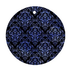 Damask1 Black Marble & Blue Watercolor Ornament (round) by trendistuff