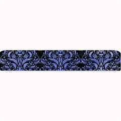 Damask1 Black Marble & Blue Watercolor Small Bar Mat