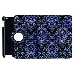 Damask1 Black Marble & Blue Watercolor Apple Ipad 3/4 Flip 360 Case by trendistuff
