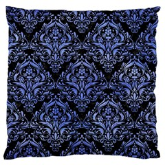 Damask1 Black Marble & Blue Watercolor Large Flano Cushion Case (two Sides) by trendistuff