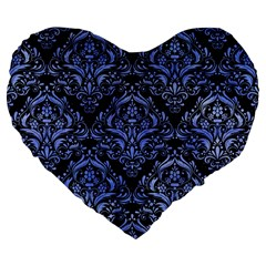 Damask1 Black Marble & Blue Watercolor Large 19  Premium Flano Heart Shape Cushion by trendistuff