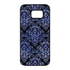 Damask1 Black Marble & Blue Watercolor Samsung Galaxy S7 Edge Black Seamless Case by trendistuff