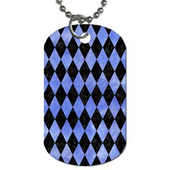 Diamond1 Black Marble & Blue Watercolor Dog Tag (two Sides) by trendistuff