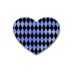 Diamond1 Black Marble & Blue Watercolor Rubber Coaster (heart) by trendistuff