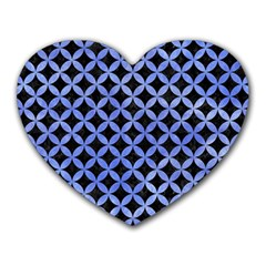Circles3 Black Marble & Blue Watercolor Heart Mousepad by trendistuff