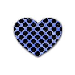 Circles2 Black Marble & Blue Watercolor (r) Rubber Heart Coaster (4 Pack) by trendistuff