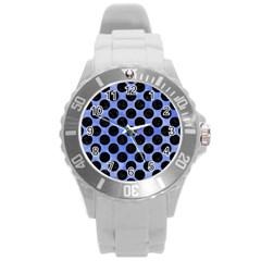 Circles2 Black Marble & Blue Watercolor (r) Round Plastic Sport Watch (l) by trendistuff