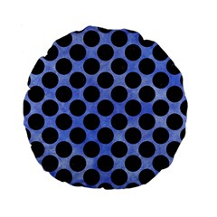 Circles2 Black Marble & Blue Watercolor (r) Standard 15  Premium Flano Round Cushion  by trendistuff