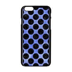 Circles2 Black Marble & Blue Watercolor (r) Apple Iphone 6/6s Black Enamel Case by trendistuff