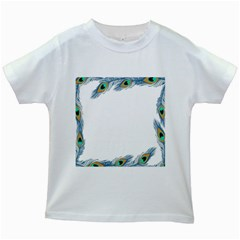 Beautiful Frame Made Up Of Blue Peacock Feathers Kids White T Shirts